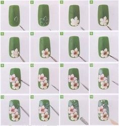White Daisy ... Nail Art Design Tutorial (NOT A DAISY, more like a Cherry blossom or maybe a Dogwood blossom...but whatever)