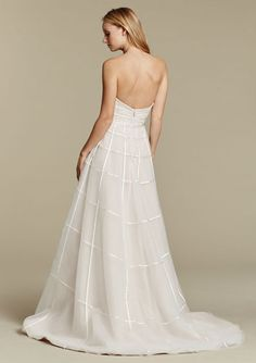 """""""Easton"""" gown. Ivory over cashmere tulle A-line bridal gown, ivory ribbon crosshatch detail, strapless sweetheart neckline with layered lace appliqué. Back View"""