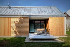 Image 9 of 23 from gallery of Wooden Brick House / Jaro Krobot. Photograph by Martin Karšňák Brick Building, Building Design, Green Building, Wooden Barn, Brick And Wood, House Roof, House Layouts, Traditional House, Bricks