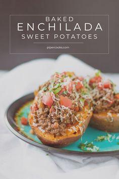 Enchilada Stuffed Baked Sweet Potatoes