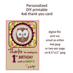 Printable DIY Owl First Birthday Theme Thank by onelovedesignsllc, $3.00