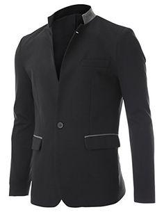 FLATSEVEN Mens Slim Wool Blend Stand Collar Blazer Jacket at Amazon Men s  Clothing store  c0348e1a392e