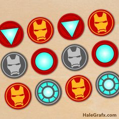 free printable Iron Man cupcake toppers for your next Iron Man or super hero themed birthday party. This free printable prints 12 to a sheet in PDF format. Avengers Birthday, Superhero Birthday Party, 6th Birthday Parties, Iron Man Theme, Iron Man Party, Iron Man Cupcakes, Cupcakes For Men, Iron Men, Iron Man Birthday