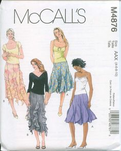 Sewing Pattern McCall's 4876 Flared Skirt Sizes 4-6-8-10 Gored Boot length skirts. $5.00, via Etsy.