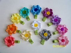 Small Loopy Ribbon Flower Hair Clip choice of 1 by EllaBellaBowsWI, $3.50