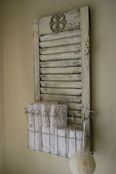A shabby chic way to enjoy old shutters! New Ways With Old Window Shutters Repurposed Furniture, Diy Furniture, Repurposed Shutters, Furniture Plans, Salvaged Doors, Painted Furniture, Bedroom Furniture, Vintage Shutters, Garden Furniture