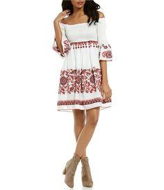 76ac155f30 Chelsea   Violet Off-The-Shoulder Bell Sleeve Smocked Embroidered Dress  Daytime Dresses
