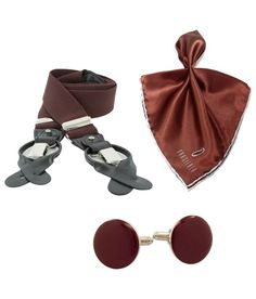 Orosilber Combo Of Brown & Maroon Suspenders, Cufflinks And Pocket Square
