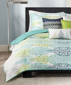 Look what I found on #zulily! Blue Floral Quilted Coverlet Set #zulilyfinds