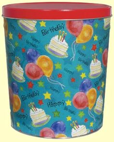 Fill this 6.5 gallon tin with your favorite type of popcorn! #chicagomix #caramelcorn #popcorn #corporategift #birthdaygift