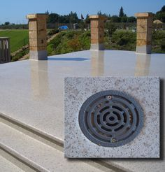 Some manufacturer's have their own proprietary deck drains for their deck waterproofing systems. Duradek is one, here is a drain of theirs shown installed,