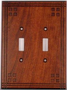 Mission Pacific Style Cherry Double Switch Cover for Living Room.