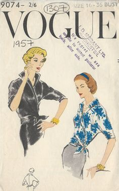 1957 Vintage VOGUE Sewing Pattern B36 BLOUSE (1307) #Vogue