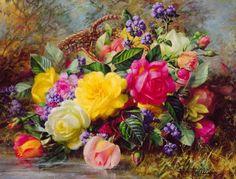 Flores al oleo.