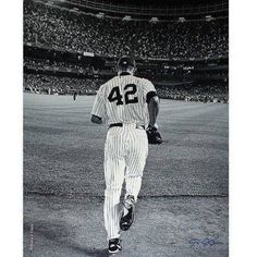 Mariano Rivera 2008 Yankees Pinstripe Jersey Pitching Vertical 16 inch x 20 inch Photo (Signed by Anthony Causi)