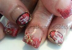 Acrylic nail art, football, 49ers