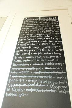 Summer bucket list using chalkboard contact paper.