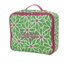 Green and Pink Daisy Carry All bag by marshmallowdream on Etsy, $23.00