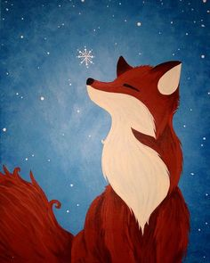 An adorable furry friend discovering the magic of winter. - An adorable furry friend discovering the magic of winter. An adorable furry friend discovering the magic of winter. Christmas Paintings On Canvas, Easy Canvas Art, Simple Canvas Paintings, Easy Canvas Painting, Acrylic Canvas, Fox Painting, Winter Painting, Winter Art, Painting & Drawing