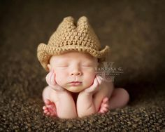 Newborn Cowboy Hat Crochet, Photography Prop, Newborn Hat, Fedora, Boy or Girl Prop