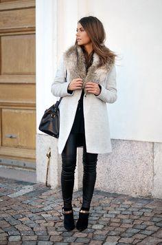 Marianna Mäkelä in a light grey coat || street style