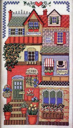 ru / small house with shops - small house with shops - natalytretyak Cross Stitch House, Cross Stitch Kitchen, Cross Stitch Needles, Cross Stitch Baby, Cross Stitch Samplers, Cross Stitch Kits, Cross Stitch Designs, Cross Stitching, Cross Stitch Embroidery