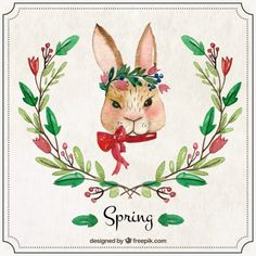 Watercolor rabbit with ornaments Free Vector
