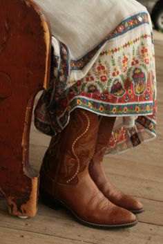 boots, embroidered skirt