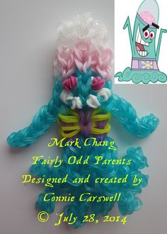 Rainbow Loom – Fairly Odd Parents Collection – Mark Chang (alien prince of Yugopotamia – loves disgusting, painful things, like Vicky. Lives in the Dimmsdale Dump disguised as Timmy's human friend, Justin Jake Aston).  Designed and created by Connie Carswell, July 2014 © Connie Carswell ~ 2014 All Rights Reserved.