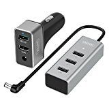 #10: [XMAS PACK] Unitek 60W 5 USB Port Qualcomm Certified Quick Charge 3.0 Aluminum Car Charger for Front & Backseat Charging  Extendable Hub Clip - Black - stereos (http://amzn.to/2bJuIg3) video (http://amzn.to/2bK3YaB) speakers (http://amzn.to/2bZfMGS) accessories (http://amzn.to/2brKMAO) radar detectors (http://amzn.to/2bZfobC) GPS navigation (http://amzn.to/2bZeuMn)