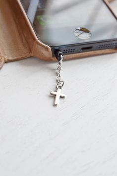 iPhone Charm Dust Plug 3.5mm,Cross iPhone Earphone Dust Plug,Cell Phone Charm,Baptism Gift,Phone Accessory,iPhone,Samsung Pluggy,Dust Proof Cell Phone Charm,Silver Tiny Cross