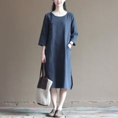 2016 half sleeve navy linen dress summer spring maxi dresses casual style