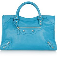 Balenciaga Giant 12 City textured-leather tote ($2,270) ❤ liked on Polyvore featuring bags, handbags, tote bags, blue, balenciaga handbags, blue purse, studded tote, zip tote and zippered tote bag