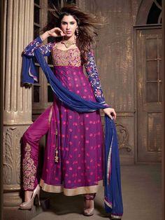 Purple Embroidered Anarkali Dress 2110MA