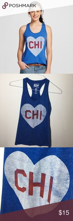 💙 CHICAGO 💙 Tanktop From Local Pride, CHI in a white heart. Perfect for Chicago lovers, DePaul students, or Cubs fans. Amazing preowned condition, true to size. Model or measure on request! Slightly rolled hem, has always been like that. Tops Tank Tops