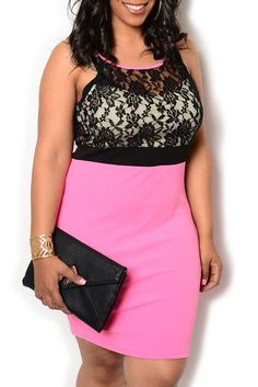 Pink Black Plus Size Chic Sheer Lace Overlay Fitted Date Dress