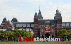 Rijksmuseum / National Museum in Amsterdam with the well-known big 'I amsterdam' letters
