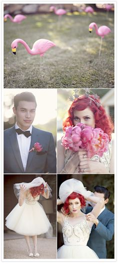holy OMG, that dress is fantastic. love the vintage prom vibe. and the flamingos!! #wedding #pink #vintage