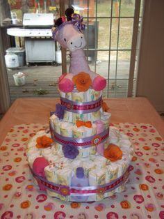 Diaper Cake I made for Jamie's Baby Shower
