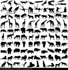 Hundert Silhouetten von wilden Tieren Afrikas