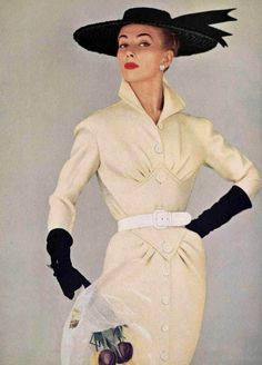 50's Style  :      Picture    Description  Genevieve in ivory wool dress by Pierre Balmain, photo Tom Kublin, 1954    - #50s https://looks.tn/style/50s/50s-style-genevieve-in-ivory-wool-dress-by-pierre-balmain-photo-tom-kublin-1954/