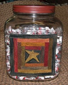 Log Cabin Candy Jar Punch Needle