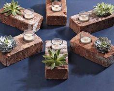 bricks, drill, succulents, votives wa lah