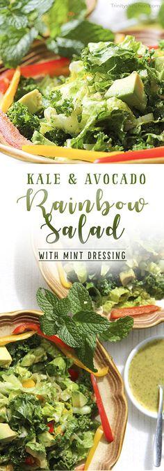 Kale & Avocado Rainbow Salad with Mint Dressing. Vegan by Trinity Bourne