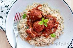 Fit mäsové guľky v paradajkovej omáčke Tofu, Rice, Cooking Recipes, Beef, Chicken, Diet, Kitchens, Meat, Chef Recipes