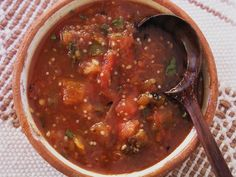 'Salsa de Chile Pequin Recipe - This is an authentic Mexican salsa, all the more interesting because of its chunky style. Piquin chiles are very small, but very hot, with a smoky, citrusy flavor. If you can't find piquines, substitute any fresh, hot chile.'