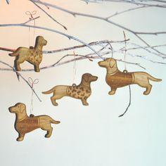 Christmas Bamboo Dachshund Decorations