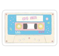 'Seventeen Aju Nice Cassette Tape' Sticker by ncba Logo Sticker, Sticker Design, Printable Stickers, Cute Stickers, Seventeen Song, Kpop Diy, Snapchat Stickers, Seventeen Wallpapers, Tumblr Stickers