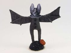 Bat Of The Night Sky Vintage Inspired Spun Cotton Figure OOAK (READY To SHIP!) by VintagebyCrystal on Etsy