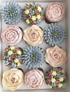 30 Most Adorable Kerry's Bouqcakes Wedding Cupcakes Buttercream Cupcakes, Buttercream Flowers, Deco Cupcake, Cupcake Cakes, Cupcake Piping, Pretty Cakes, Cute Cakes, Cake Decorating Tips, Cookie Decorating